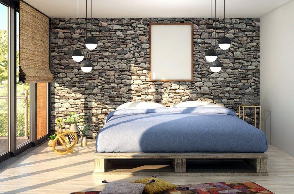 A mattress on a bed frame